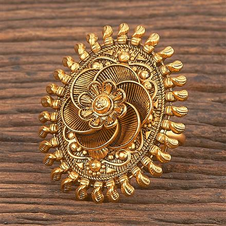206867 Antique Classic Ring With Matte Gold Plating