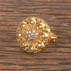 206892 Antique Classic Ring With Matte Gold Plating