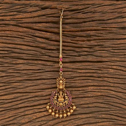 206906 Antique Temple Tikka With Matte Gold Plating
