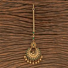 206908 Antique Peacock Tikka With Matte Gold Plating