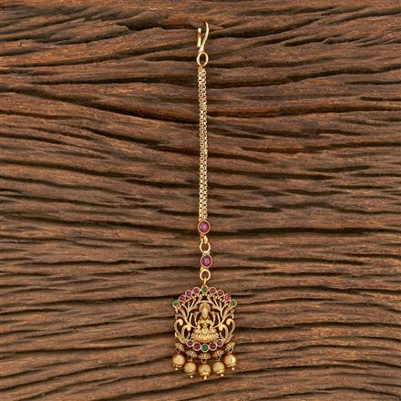 206909 Antique Temple Tikka With Matte Gold Plating