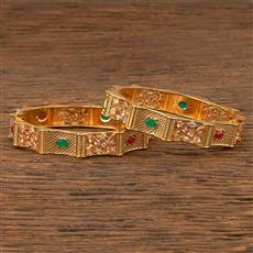 206944 Antique Openable Bangles With Gold Plating