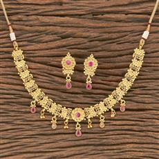 206960 Antique Classic Necklace With Matte Gold Plating