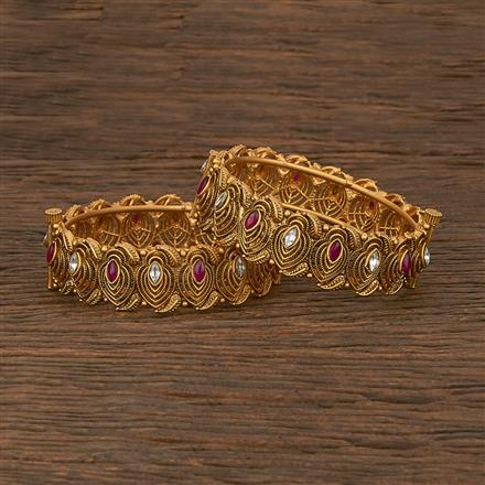 206961 Antique Openable Bangles With Matte Gold Plating