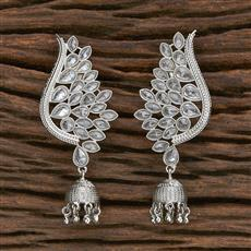 206966 Antique Jhumkis With Rhodium Plating