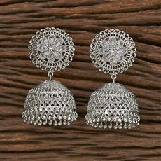 206968 Antique Jhumkis With Rhodium Plating