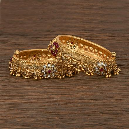 206972 Antique Openable Bangles With Matte Gold Plating