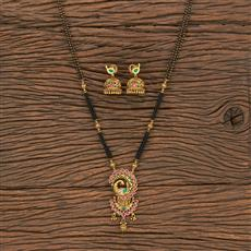 206974 Antique Classic Mangalsutra With Matte Gold Plating