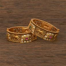 206975 Antique Openable Bangles With Matte Gold Plating