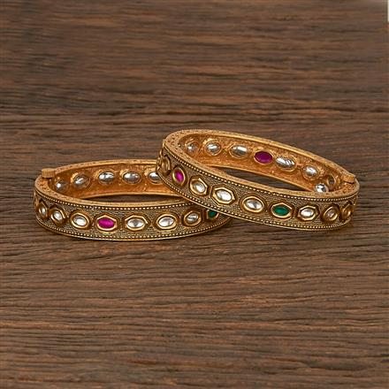 206976 Antique Openable Bangles With Matte Gold Plating