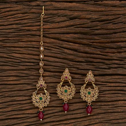 206996 Antique Earring Tikka With Gold Plating