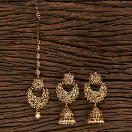 206997 Antique Earring Tikka With Gold Plating