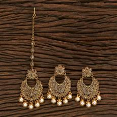 206998 Antique Earring Tikka With Gold Plating