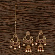 206999 Antique Earring Tikka With Gold Plating
