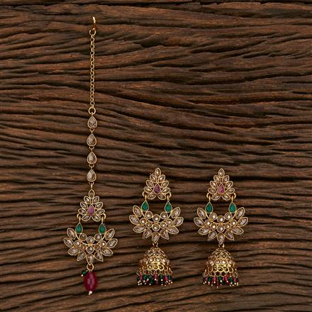 207000 Antique Earring Tikka With Gold Plating