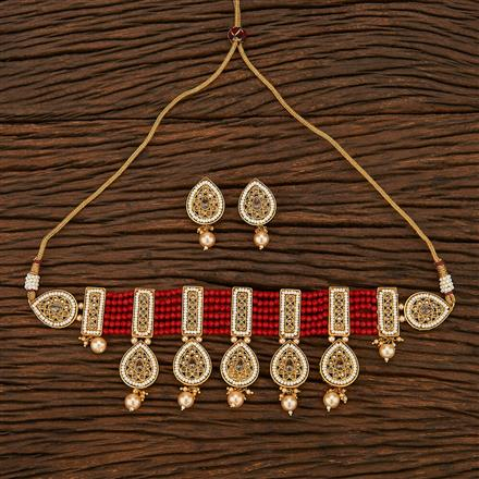 207001 Antique Choker Necklace With Gold Plating