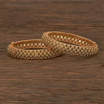 207010 Antique Openable Bangles With Matte Gold Plating