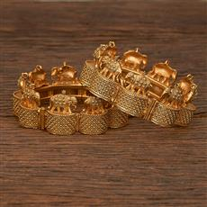 207016 Antique Temple Bangles With Gold Plating