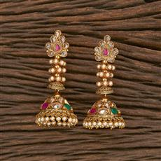 207018 Antique Jhumkis With Gold Plating