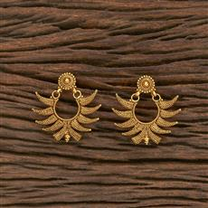 207036 Antique Plain Earring With Gold Plating