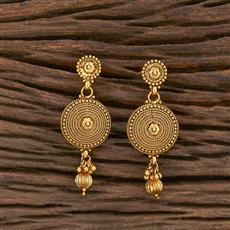 207037 Antique Plain Earring With Gold Plating