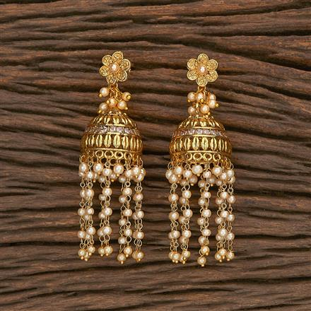 207044 Antique Jhumkis With Gold Plating