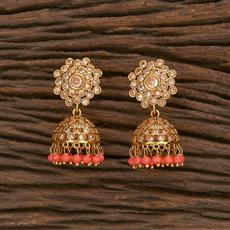 207050 Antique Jhumkis With Gold Plating