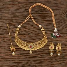 207057 Antique Mukut Necklace With Matte Gold Plating