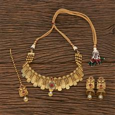 207059 Antique Mukut Necklace With Matte Gold Plating