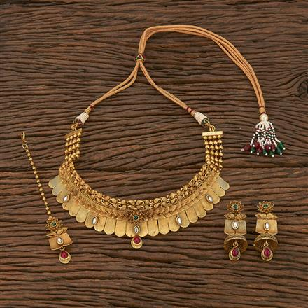 207060 Antique Mukut Necklace With Matte Gold Plating