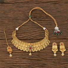 207061 Antique Mukut Necklace With Matte Gold Plating