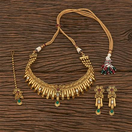 207062 Antique Mukut Necklace With Matte Gold Plating