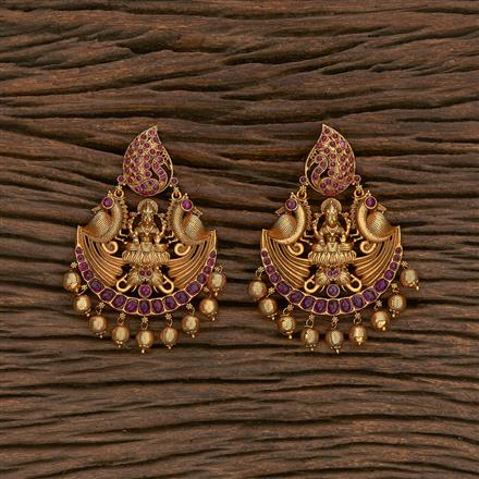 207080 Antique South Indian Earring With Matte Gold Plating