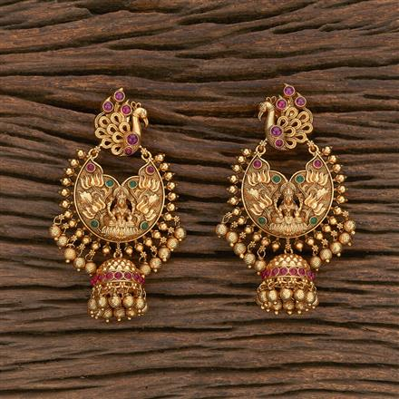 207081 Antique Peacock Earring With Matte Gold Plating