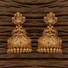 207084 Antique Temple Earring With Matte Gold Plating