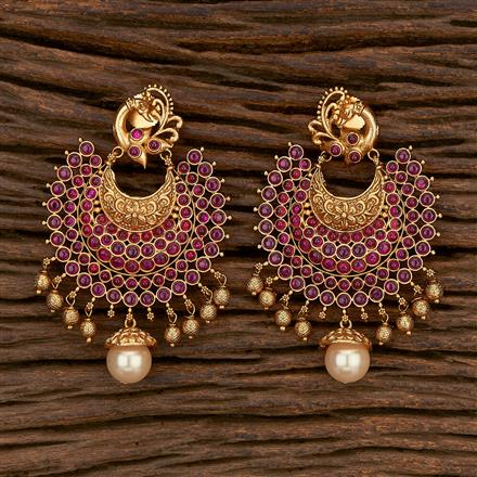207090 Antique Peacock Earring With Matte Gold Plating