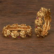 207096 Antique Openable Bangles With Matte Gold Plating