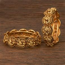 207097 Antique Plain Bangles With Matte Gold Plating