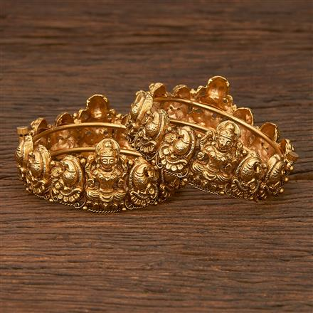 207098 Antique Temple Bangles With Matte Gold Plating