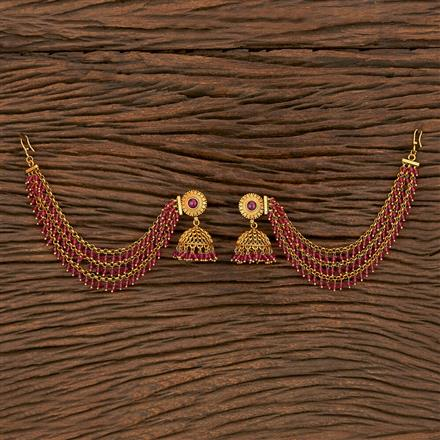 207100 Antique Earring With Chain With Gold Plating