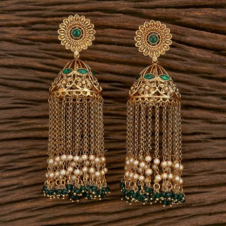 207101 Antique Jhumkis With Gold Plating