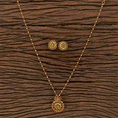 207102 Antique Classic Pendant Set With Matte Gold Plating