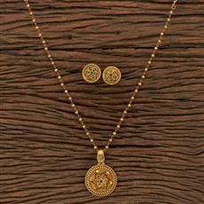 207103 Antique Classic Pendant Set With Matte Gold Plating