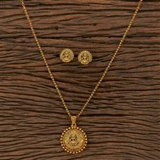 207104 Antique Plain Pendant Set With Matte Gold Plating