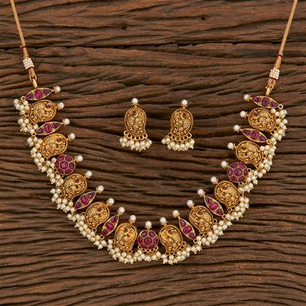 207107 Antique Peacock Necklace With Matte Gold Plating
