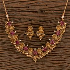 207109 Antique Peacock Necklace With Matte Gold Plating