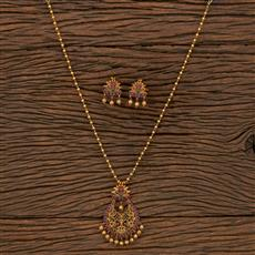207117 Antique South Indian Pendant Set With Matte Gold Plating