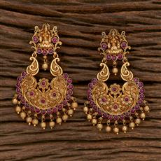 207118 Antique Temple Earring With Matte Gold Plating