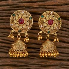 207119 Antique Jhumkis With Gold Plating
