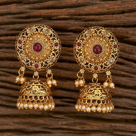 207120 Antique Jhumkis With Gold Plating